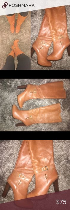 Banana Republic tall rider boots Gold buckle, tall riding boots with medium heel.. only worn as once. Like Brand New! Looks good with tights & over size sweater or pair with just jeans & tee! Perfect color to match everything! ✨ Banana Republic Shoes Heeled Boots
