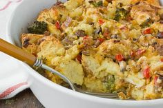 Being Southern and all, I grew up eating, and loving, breakfast casserole. (Some of you may call it a strata or bake. To be honest, I still don't know the difference.) My mother's recipe is basic—just sausage, bread, eggs, and cheese. Any time mom has to feed a crowd, whether for company, early football games, or Christmas, this is the dish she makes.