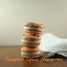 Pumpkin Spice Macarons are a fun fall treat. Orange-tinted shells are filled with a pumpkin spiced buttercream, and topped with autumn sprinkles. Orange Food Coloring, Gel Food Coloring, How To Make Macarons, Fall Treats, Eclairs, Pumpkin Pie Spice, Almond Flour, Sweet Tooth, Spices