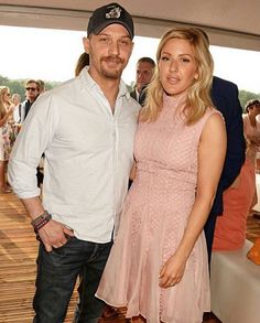 Ellie Goulding wearing Bora Aksu AW16-17  Pink lace dress at Audi Polo Challenge on 29 th May 2016. Here she is with Tom Hardy