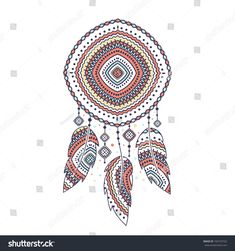Dream catcher, boho feather, vector ethnic tribal ornament. Detailed illustration, hand drawn, great for fabric and textile, prints, invitation, packaging, or any desired idea.