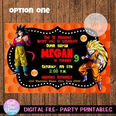 Dragon Ball Z Invitation Dragon Ball Z birthday Dragon Ball Dragon Ball Z, Dragon Party, 6th Birthday Parties, 13th Birthday, David, Party Planning, Party Favors, Birthdays, Invitations