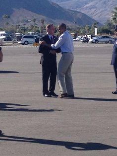Obama and Palm Springs, Calif., Mayor Steve Pougnet