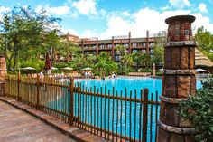 Disney's Animal Kingdom Lodge pool ... Keith and I watched Tangled while swimming one night! Best hotel ever.