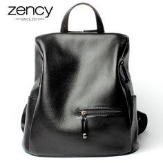 2017 Fashion 100% Genuine Leather Black Women's Backpack Girls Schoolbag Book Ladies Bags Laptop Bagpack Luggage Mochilas Mujer