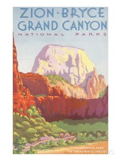 24x36 1950s Visit Grand Canyon Zion Bryce Vintage Style Train Travel Poster