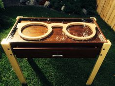 Our latest dispensing table walnut and maple with a drawer. Www.backyardspectacles.com for more details.