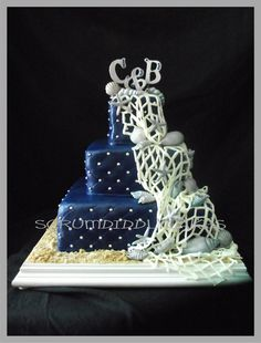 Scrum Diddly Cakes: Dark Blue and Silver Seashell Wedding Cake