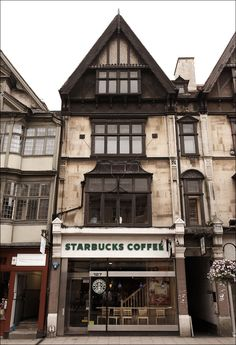 Starbucks in Oxford - A.) I have been by that Starbucks a million times when I was in Oxford.) I work for Starbucks and would DIE if I could work at this one. Oxford England, England Uk, Windsor England, London England, Oh The Places You'll Go, Places To Travel, Harrods, Nespresso, England And Scotland