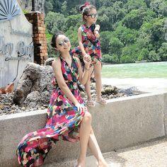 Summer children clothes women girls family matching clothes mother daughter beach dress chiffon Long Skirt Sexy V-Neck Bohemian