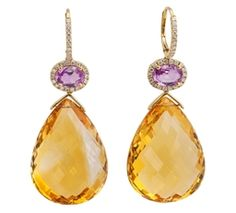 Pink Sapphire and Citrine Drop Earrings from Jye Luxury Collection