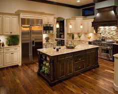 Beige/Deep Wood Kitchen with Stunning Pale Stone Back-Splash! _ Pic # 10