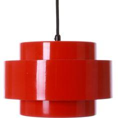 JUNO (RAINBOW LINE) pendant by Jo Hammerborg 1969 Fog Mørup. Danish... ($205) ❤ liked on Polyvore featuring home, lighting, ceiling lights, vintage ceiling lamps, vintage hanging lamp, vintage ceiling lights, red lamp and vintage pendant light