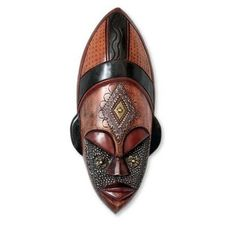 Dan Beauty Womans Serene Face Tribal Artwork Multicolor Sese Wood with Brass and Aluminum Carved African Wall Art Mask (Ghana) | Overstock.com Shopping - The Best Deals on Statues & Sculptures