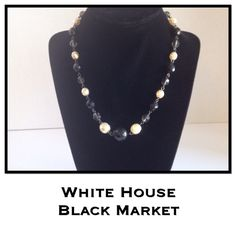"""White House / Black Market Beaded Necklace The necklace is 16"""". Gray, cream, and black faceted beads. Lobster claw, adjustable length closure. White House Black Market Jewelry Necklaces"""