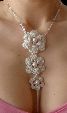 Crochet Silver Necklace: Crochet Silver Necklace
