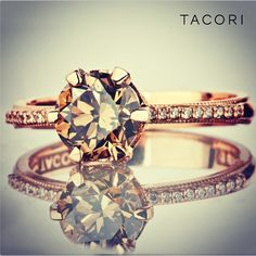 Perfection! Custom Tacori champagne brown diamond hand-set in rosegold ! Style No. 2507 RD 7 (SO 0135366)
