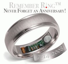 "Remember Rings- Never Forget an Anniversary--This ring heats up to 120 degrees for 10 seconds every hour the day before your anniversary so you don't forget. Yes, 3rd degree burns really do say, ""I'm so glad we are sharing our lives together"""