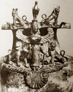 Bronze vessel of Etruscan or Rhodian craftship found in a mound at Graeckwyl, Switzerland, dated to the 7th century bce.    The winged goddess is flanked by four lions, the upper two resting on two snakes that emerge from her head. An eagle sits on her head, and she holds two hares in her hands.