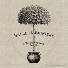 INSTANT DOWNLOAD Belle Jardiniere Beautiful Garden Digital Image No.96 Iron-On Transfer to Fabric (burlap, linen) Paper Prints (cards, tags). $3.50, via Etsy.
