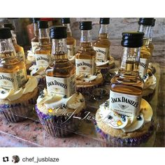 I love your not so ordinary cupcake. THIS one fits the bill! Yummy!  #Repost @chef_jusblaze with @repostapp  Jack Daniels Honey Cupcakes  Jack Daniels Honey Infused Vanilla Based cupcakes with a buttercream icing garnished with platinum candy pearls and gold flake sprinkles and your own personal bottle of Jack Daniels Honey  #jackdaniels #jackdanielshoney #liquorinfused #liquorinfusedcupcakes #cupcakes #cupcakewasted #gourmetcupcakes #pastries #cake #chef #cheflife #foodie #foodgasm…
