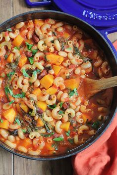 Warm, hearty and delicious Vegetarian Pasta e Fagioli, filled with your favorite fall vegetables, butternut squash and swiss chard!