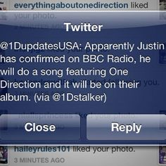 well technically... it would be featuring justin if its on 1d's album... x