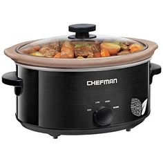 Chefman Slow Cooker, All Natural / Chemical-Free / Glaze-Free Pot, Stovetop and Oven Safe Crock; the Only Nonstick Paleo Certified XL 5 Qt Slow Cooker