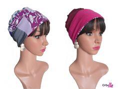 """Bonnet Patchwork REVERSIBLE """"Carine"""" pour femmes en chimiothérapie www.orbelle.fr"""