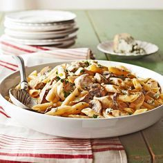 Cream and gorgonzola cheese create a wonderfully rich sauce perfect for coating fresh mushrooms and chicken. Garnish this 30 minute meal with more gorgonzola and fresh parsley.