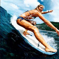 Cheater-five!! Surfer girl longboarding.