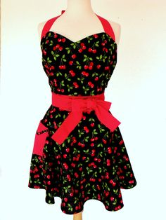 Cherry Pinup Apron Rockabilly Retro Style with Red Polka Dot Sweetheart on Etsy, $45.85 AUD