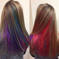 We've gathered our favorite ideas for Hidden Rainbow Hair Underlights Hair Fashion Color Using, Explore our list of popular images of Hidden Rainbow Hair Underlights Hair Fashion Color Using in rainbow hair highlights. Hair Lights, Light Hair, Rainbow Hair Highlights, Hair Color Highlights, Balayage Color, Hidden Hair Color, Cool Hair Color, Hidden Rainbow Hair, Pelo Multicolor