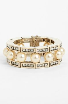 This pearl and crystal bracelet is so lovely.