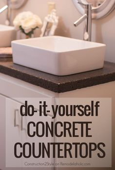 DIY Concrete Countertops Tutorial -- they tinted them charcoal for a darker look @Remodelaholic