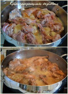Απίστευτο «λευκό» στιφάδο με κουνέλι! - cretangastronomy.gr Greek Recipes, Chicken, Meat, Cooking, Food, Beef, Baking Center, Koken, Greek Food Recipes