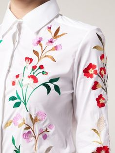 Oscar de la Renta floral embroidered shirt