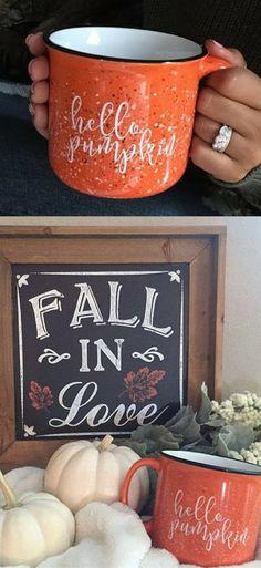 Cute Hello Pumpkin Campfire Mugs #pumpkinspice #mug #ad #coffee #coffeecup #campfire #latte #fall #autumn #hello