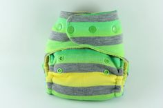 Ombre Striped One Size Fitted Cloth Diaper with uper Heavy Cotton Fleece and Lemon Yellow Cotton Velour with Ribbit Snaps by BICKLEBEAR, $28.00  http://bicklebear.etsy.com