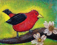 Scarlet Tanager Bird Painting ORIGINAL Songbird Art ANIMALS Wildlife barbosaart