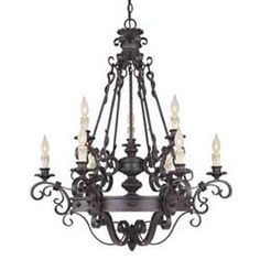 Savoy House 1 4315 9 17 Forged Black Wrought Iron 9 Light Up Lighting Chandelier Bronze Chandelier, Candle Chandelier, Antique Chandelier, Chandelier Ceiling Lights, Ceiling Pendant, Rustic Lighting, Light Up, Light Fixtures, Wrought Iron