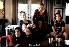 The girls laughing in the Pretty Little Liars Christmas Special