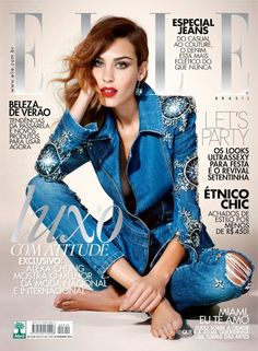 Alexa Chung stuns in embellished denim and a bold red lip // shot by Nicole Heiniger for Elle Brazil