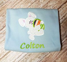 Boys Easter Bunny Egg Shirt,Boys T shirt or Bodysuit, Appliqué Embroidered