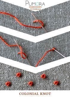 7 days of stitches: the french knot - Pumora - all about hand embroidery - Pumora's lexicon of embroidery stitches: the colonial knot Más - Crewel Embroidery Kits, Embroidery Stitches Tutorial, Embroidery Needles, Learn Embroidery, Silk Ribbon Embroidery, Hand Embroidery Patterns, Embroidery Techniques, Cross Stitch Embroidery, Simple Embroidery