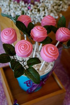 Pretty rose pink cake pops at a butterflies baby shower party! See more party planning ideas at CatchMyParty.com!