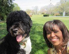 Michelle and Bo Obama Take a Selfie