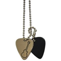 Metal Guitar Pick Necklace Guitar Outline featuring polyvore necklaces jewelry accessories music