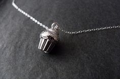 Cupcake Necklace Sterling Silver Silver Cupcake Jewelry by NKDNA, $19.00