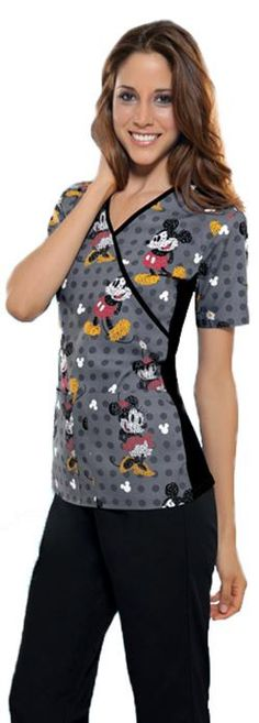 Slimming mock wrap Tooniforms scrub top featuring #MickeyMouse. Print name: Text Me Mickey.
